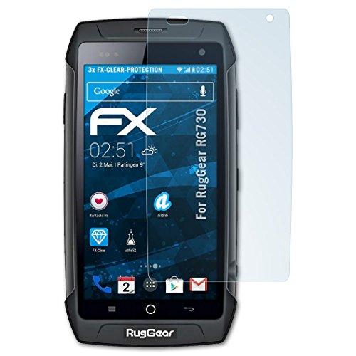 atFolix Schutzfolie kompatibel mit RugGear RG730 Folie, ultraklare FX Bildschirmschutzfolie (3X)