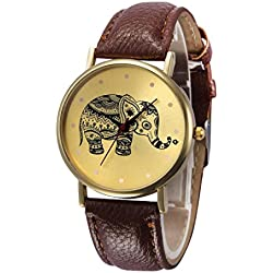 Koly Women's Elephant Patterns Faux Leather Band Analog Quartz Vogue Wrist Watches Brown