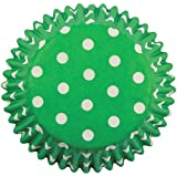 PME Green Polka Dots Paper Baking Cases for Cupcakes, Standard Size, Pack of 60