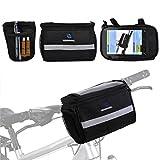 Bike Front Bar Bag, Fahrrad Fahrradkorb Wasserdichte Lenkertasche mit silbernen grau Reflektierende Streifen für Outdoor-Aktivität Fahrrad-Paket Storage Carrier Zubehör Schwarz 3.5L