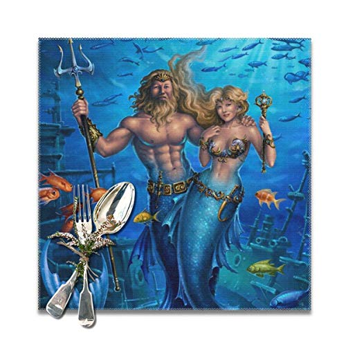 Blue Sea Lovers MermanDecorative Polyester Placemats Set of 6 Printed Square Plate Cushion Kitchen Table Heat-Resistant Washable Dining Room Family Children Soft Square Dinner Plate