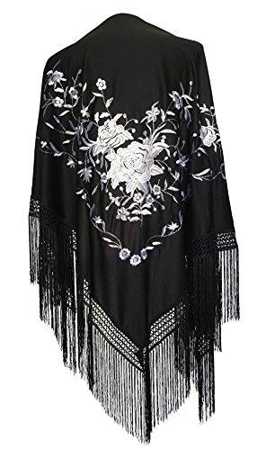 La Señorita Mantones bordados Flamenco Manton de Manila negro flores blanco Large