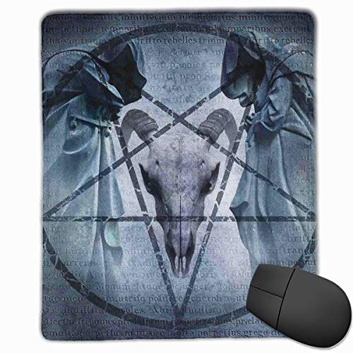 Mouse Mat Stitched Edges, Artwork With Pentagram Icon Goat Skull Devil Dream Hooded Figure Exorcist Image,Gaming Mouse Pad Non-Slip Rubber Base Devils Camo