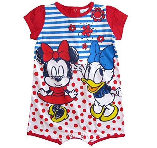 Minnie Mouse und Daisy Kollektion 2018 Strampelanzug 56 62 68 74 80 86 Stramplerkleid Kurz Einteiler Maus Disney Rosa (74-80, Rot-Weiß)