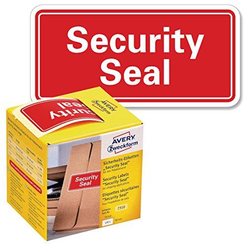 AVERY Zweckform Sicherheitssiegel VOID 7310 Security Seal (leuchtrot, 78 x 38 mm, 100 Stück auf Rolle) im Kartonspender