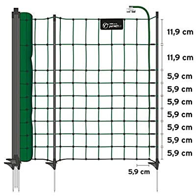 VOSS.PET Electric fence netting petNET for small animals, height 65 cm, length 12 m, 9 black posts, green from VOSS.PET