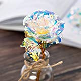 JIUHUIDIAN 24K Gold Foil Rose Flower LED Luminous Forever Galaxy Rose Flower Mothers Day Romantic Crystal Rose for Girlfriend Mother
