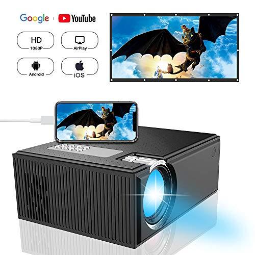 Diwuer c8 mini proiettore wifi portatile, 1800 lumen led wireless video proiettore, multimedia home cinema lcd video proiettore full hd supporta 1080p hdmi usb sd vga av per tv dvd console giochi iphone ipad android, nero