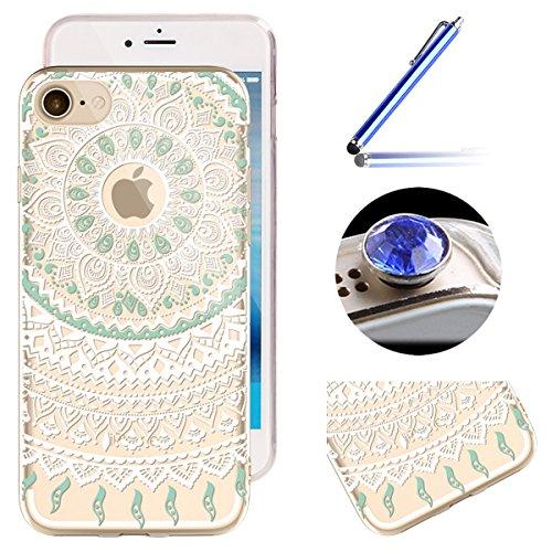 Etsue iPhone 6 Plus/6S Plus Housse,Etui Housse Coque de Protection Silicone TPU Gel pour iPhone 6 Plus/6S Plus,Silicone Coloré Imprimé en Caoutchouc Souple de Gel Housse pour iPhone 6 Plus/6S Plus + 1 Blanc Mandala 1#