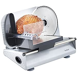 VonShef Precision Electric Food Slicer / Meat Slicer with Stainless Steel Blade + Guard Includes two extra blades for Bread & Meat