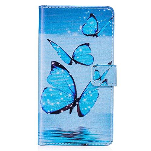 iPhone 6s Plus Hülle Leder, E-Lush Premium PU Leder Tasche für Apple iPhone 6/6S Plus(5,5 zoll) Klapphülle 360 Full Body Protection Flip Case Wallet Cover Weiche Flexible TPU Soft Rückseite Abdeckung  Blau Schmetterling