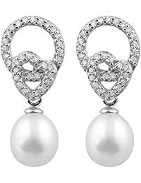 Bella Pearls - Boucles d'oreilles pendantes en Argent Sterling et CZ avec perles d'eau douce blanches