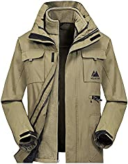 MECASTAR Mens Snowboard Ski Jacket 3-in-1 Waterproof Windproof Warm Winter Shell with Detachable Hood and Flee
