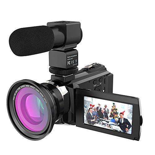 Andoer 4k 1080p 48mp wifi videocamera digitale + zoom ottico grandangolare 0.39x + microfono esterno + visore notturno a infrarossi ir touchscreen capacitivo da 3 pollici con 2pcs batterie