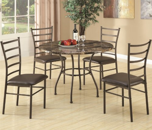 5pc-dining-table-and-chairs-set-with-faux-marble-top-in-brown-finish