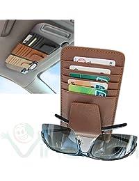 Bolsillo Porta documentos tarjetas crédito Gafas Piel Clip tapa Parasol coche marrón