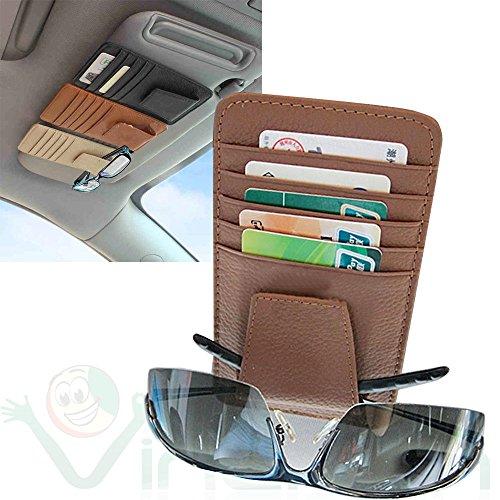 Tasca porta documenti carte credito occhiali PELLE clip aletta parasole auto MARRONE