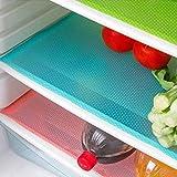 Cuteco modische Kühlschrankmatten, antibakteriell, Anti-Schimmel, Anti-Feuchtigkeit, Matte für Einlegeboden des Kühlschranks, 4Stück blau