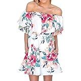 Sommerkleider Damen VENMO Frauen Sommer Boho Abendgesellschaft weg von der Schulter Minikleid Strandkleid Sundress (S, White)