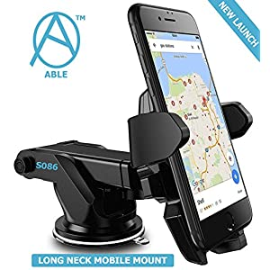Able Long Neck One Touch Mount Holder for All Smartphones (Black)