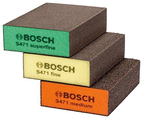 BOSCH 2608621253 Schleifschwamm-Set Best for Flat & Edge - Orange / Gelb / Grün (3-teilig)