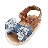 Sandalias niñas Xinantime Zapatos bebés de Verano para niñas Chica Sandalias con cinturón Tejido bebé Sneaker Zapatillas Planas Bowknot Zapatos Princesa Calzado (12-18 Meses, Azúl)