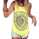 Mujer Camiseta,Sonnena Patrón de Sol Estampado sin Manga Camiseta para Mujer y Chica Joven Casual Sexy Traje de Verano Fresco para Citas Actividades al Aire Libre (XL, Amarillo)