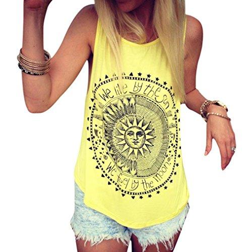 Mujer camiseta,Sonnena ❤️ ❤️ Patrón de sol estampado sin manga camiseta para mujer y chica joven casual sexy traje de verano fresco para citas Actividades al aire libre (M, AMARILLO)