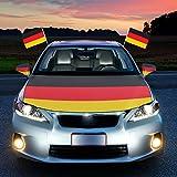 HAIGOU 2018 World Cup Fußball Autohauben Abdeckung in Deutschlandsfarben Fahne Flagge Deutschland with Auto Spiegelüberzieher Autofahne