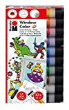 Marabu 0406000000123 - Window Color fun and fancy, 10 x 25 ml, inklusive 17 Vorlagen mit Kinder Motiven