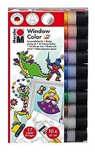 MARABU Kit Window Color Fun & Fancy 10 x 25 ml à base d'eau