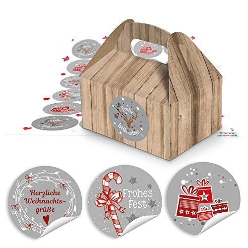 48 Petites boîtes cadeau en carton marron (9 x 12 x 6 cm sans poignée) + Adhésif de Noël Gris/blanc sur rouge ronde avec textes de vœux de Noël Joyeux Noël (14127) à remplir