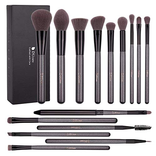 DUcare 15-Piece Make Up Pinsel Set Premium Super Soft Synthetic Hair Professional Vegan Cosmetic Makeup Brush Sets (Grau) (Künstler Der Make-up-kontur)