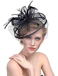 dressfan Diadema Fascinador Encantadoras flores de malla Pluma tocado de la  red cap de malla del banquete de fiesta… ec6894a61b5c