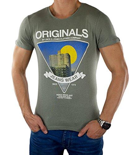 JACK & JONES Herren T-Shirt Jjordrool Tee Ss Crew Neck DROOL Hellgrau (Moon Mist)