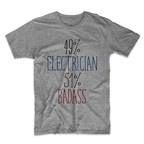 49% Electrician 51% Badass Komisch Sarcastic Herren T-Shirt Grau