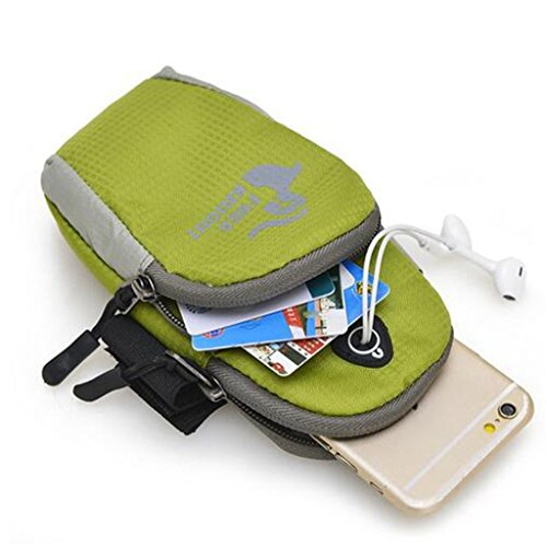Edealing (TM) Wasserdichte Universal-laufende Telefon-Beutel-Sport-Arm-Band-Kasten-Handgelenk-Beutel-Arm-Beutel-im Freiennylon-Handbeutel für Mobiltelefon-Handy 5.5 Zoll Green