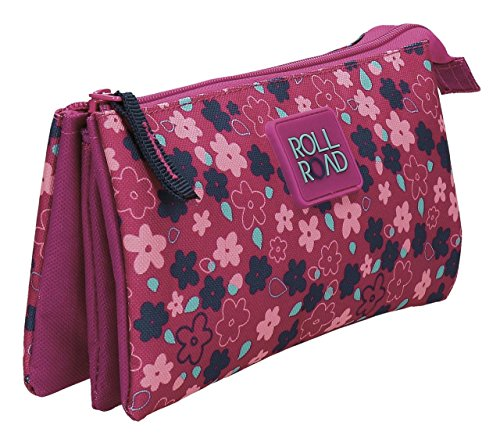 Estuche Triple Roll Road Flores Fucsia