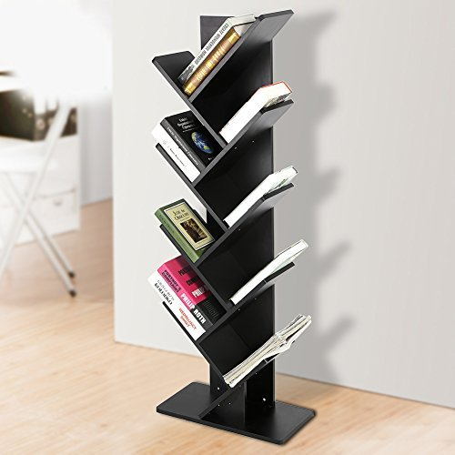 Zerone Bücherregale Weiss,Bookshelf Baum Bookshelf buchfach CD Regal modern harmlos stabiles Abstands Regal 9 Fächer 50x25x 135cm (Farbe optional) (Schwarz) -