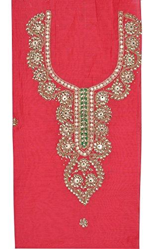 Chanderi Silk Gota Patti Work Design Unstitched Ethnic Wear Kurtis For Women's 2.3 Meter