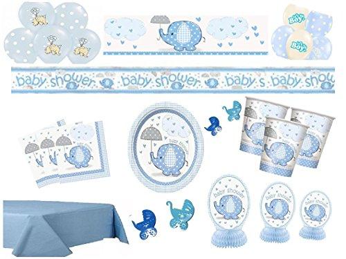 Partydekoset Babyparty Baby Shower Junge blau für 16 Personen Pullerparty Baby Geburt Babyparty Komplettset Tischdeko Party Geschirr