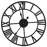 wivarra Große Römische Zahl Uhr Metall Wanduhr für Home Hotel Bar Büro, Schwarz, Diameter: 40cm
