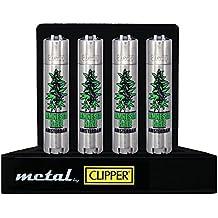 1 mechero Clipper de metal color Amnesia Haze Amsterdacon con funda, Edición Metal Flint