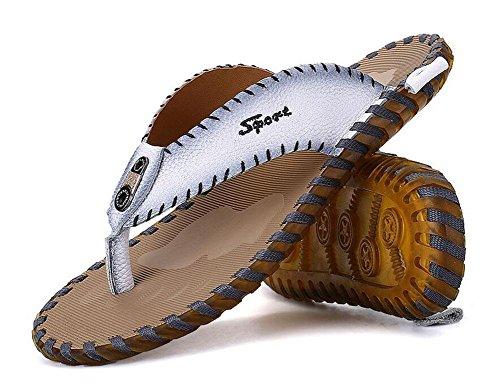 SHIXR Männer öffnen sich zurück Hausschuhe Sommer neue Figuren Flip Männer Mode Trend Leder kühlen Pantoffeln Männer Sandalen White