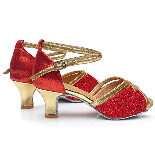 Oasap Women's Peep Toe Sequins Cross Strap High Heels Latin Dance Shoes Golden