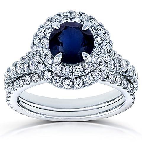 Blue Sapphire and Diamond Double Halo Split Shank Bridal Rings