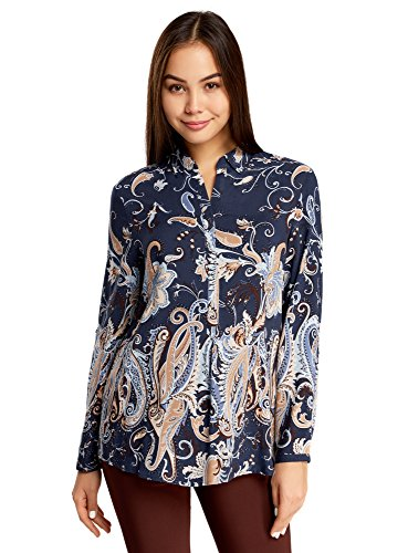 oodji Collection Damen Viskose-Bluse mit Druck, Blau, DE 44/EU 46/XXL (Button-down-vintage-shorts)
