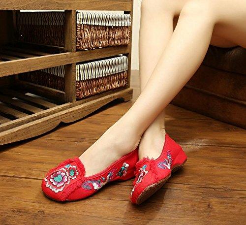 &hua Gestickte Schuhe, Leinen, Sehnensohle, ethnischer Stil, weibliche Schuhe, Mode, bequem, Tanzschuhe Red