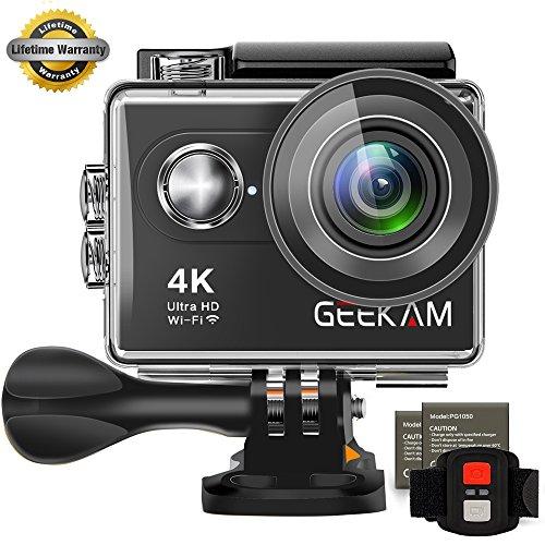 GeeKam Digital Action Unterwasser Wasserdichte Sport-Kamera Camcorder Cam Wifi 4 K HD 30 FPS 12 MP 170 Grad Weitwinkel Fernbedienung und Helm Zubehör Kit Wasserdicht 100 FT