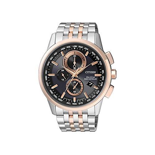 Citizen-World-Orologio da uomo al quarzo con Display con cronografo da uomo, due tonalità, in acciaio INOX placcato al 8116-57E